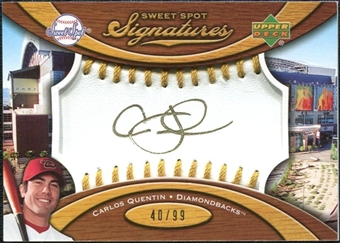 2007 Upper Deck Sweet Spot Signatures Gold Stitch Gold Ink #CQ Carlos Quentin /99