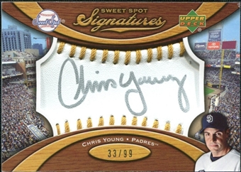 2007 Upper Deck Sweet Spot Signatures Gold Stitch Gold Ink #CY Chris Young /99