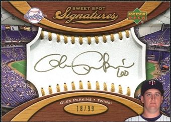 2007 Upper Deck Sweet Spot Signatures Gold Stitch Gold Ink #GP Glen Perkins Autograph /99