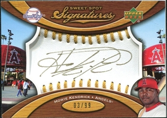 2007 Upper Deck Sweet Spot Signatures Gold Stitch Gold Ink #HK Howie Kendrick /99