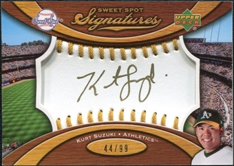 2007 Upper Deck Sweet Spot Signatures Gold Stitch Gold Ink #KS Kurt Suzuki /99