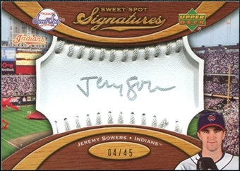 2007 Upper Deck Sweet Spot Signatures Silver Stitch Silver Ink #JS Jeremy Sowers /45