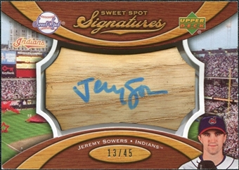 2007 Upper Deck Sweet Spot Signatures Bat Barrel Blue Ink #JS Jeremy Sowers Autograph /45
