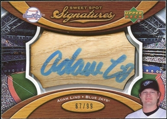 2007 Upper Deck Sweet Spot Signatures Bat Barrel Blue Ink #LI Adam Lind Autograph /99