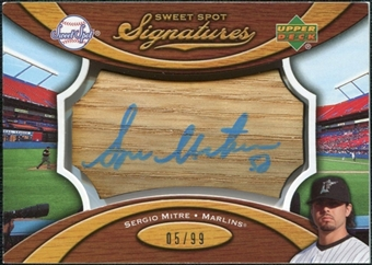 2007 Upper Deck Sweet Spot Signatures Bat Barrel Blue Ink #SE Sergio Mitre Autograph /99