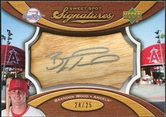 2007 Upper Deck Sweet Spot Signatures Bat Barrel Silver Ink #BW Brandon Wood /25