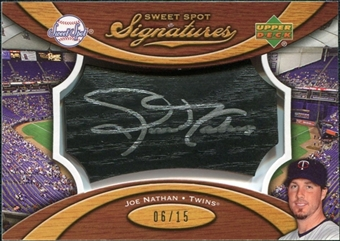 2007 Upper Deck Sweet Spot Signatures Black Bat Barrel Silver Ink #JN Joe Nathan /15