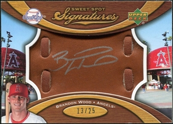 2007 Upper Deck Sweet Spot Signatures Glove Leather Silver Ink #BW Brandon Wood Autograph /25