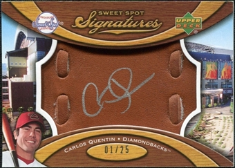 2007 Upper Deck Sweet Spot Signatures Glove Leather Silver Ink #CQ Carlos Quentin /25