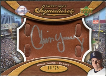 2007 Upper Deck Sweet Spot Signatures Glove Leather Silver Ink #CY Chris Young /25
