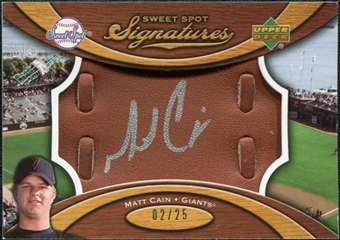 2007 Upper Deck Sweet Spot Signatures Glove Leather Silver Ink #MC Matt Cain Autograph /25