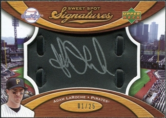 2007 Upper Deck Sweet Spot Signatures Black Glove Leather Silver Ink #AL Adam LaRoche /25