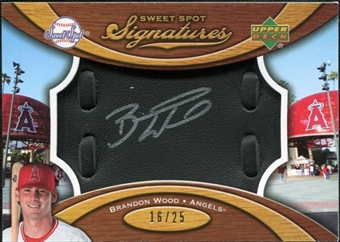 2007 Upper Deck Sweet Spot Signatures Black Glove Leather Silver Ink #BW Brandon Wood Autograph /25