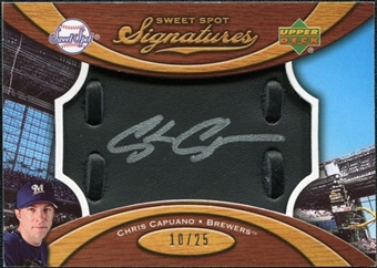 2007 Upper Deck Sweet Spot Signatures Black Glove Leather Silver Ink #CC Chris Capuano Autograph /25