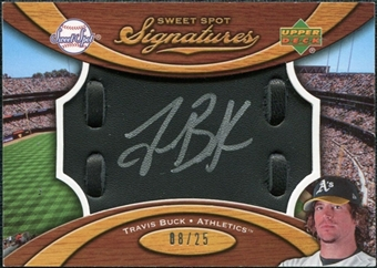 2007 Upper Deck Sweet Spot Signatures Black Glove Leather Silver Ink #TB Travis Buck /25