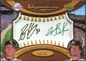 2007 Upper Deck Sweet Spot Dual Signatures Gold Stitch Gold Ink #SB Ryan Sweeney Travis Buck 10/10