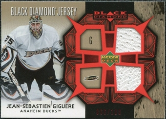 2007/08 Upper Deck Black Diamond Jerseys Ruby Dual #BDJJG Jean-Sebastien Giguere /100