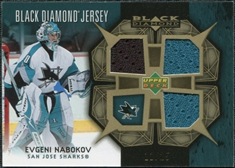 2007/08 Upper Deck Black Diamond Jerseys Gold Triple #BDJEN Evgeni Nabokov /25
