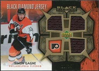 2007/08 Upper Deck Black Diamond Jerseys Gold Triple #BDJSG Simon Gagne /25