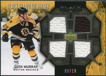 2007/08 Upper Deck Black Diamond Jerseys Black Quad #BDJGM Glen Murray /10