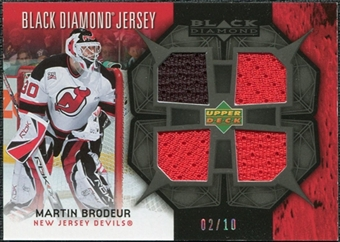 2007/08 Upper Deck Black Diamond Jerseys Black Quad #BDJMA Martin Brodeur /10