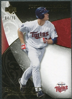 2007 Upper Deck Exquisite Collection Rookie Signatures Gold #23 Justin Morneau /75