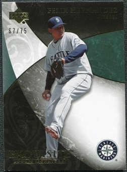2007 Upper Deck Exquisite Collection Rookie Signatures Gold #64 Felix Hernandez /75