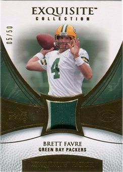 2007 Upper Deck Exquisite Collection Patch Gold #FA Brett Favre /50