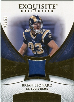 2007 Upper Deck Exquisite Collection Patch Gold #LD Brian Leonard /50