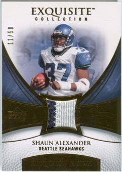 2007 Upper Deck Exquisite Collection Patch Gold #SA Shaun Alexander /50