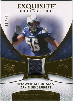 2007 Upper Deck Exquisite Collection Patch Gold #SM Shawne Merriman /50