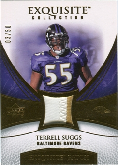 2007 Upper Deck Exquisite Collection Patch Gold #TS Terrell Suggs /50