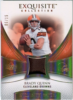 2007 Upper Deck Exquisite Collection Patch Spectrum #BQ Brady Quinn 06/15