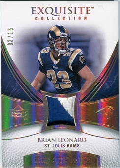 2007 Upper Deck Exquisite Collection Patch Spectrum #LD Brian Leonard 03/15