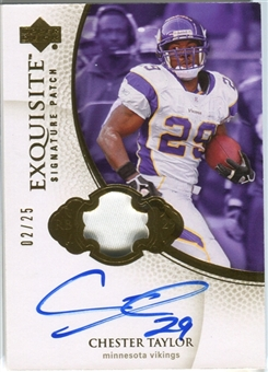 2007 Upper Deck Exquisite Collection Signature Swatches Patch #CT Chester Taylor Autograph /25
