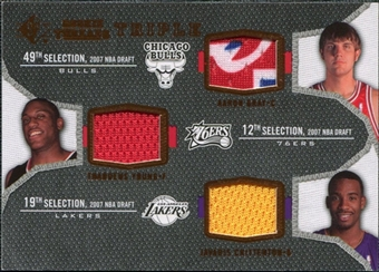 2007/08 Upper Deck SP Rookie Threads Triple #GYC Aaron Gray Thaddeus Young Javaris Crittenton