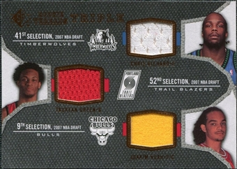 2007/08 Upper Deck SP Rookie Threads Triple #NGR Chris Richard Taurean Green Joakim Noah