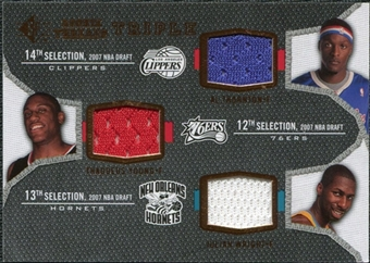 2007/08 Upper Deck SP Rookie Threads Triple #TYW Thaddeus Young Julian Wright Al Thornton
