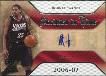 2007/08 Upper Deck SP Rookie Threads Scripted in Time #RC Rodney Carney Autograph
