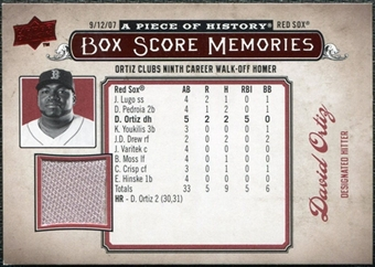 2008 Upper Deck UD A Piece of History Box Score Memories Jersey #BSM6 David Ortiz