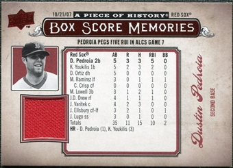 2008 Upper Deck UD A Piece of History Box Score Memories Jersey #BSM7 Dustin Pedroia
