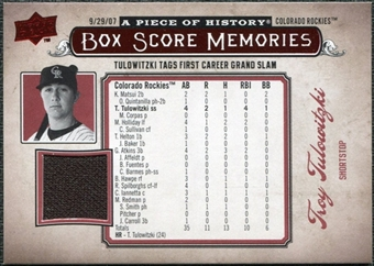 2008 Upper Deck UD A Piece of History Box Score Memories Jersey #BSM20 Troy Tulowitzki
