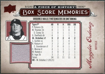 2008 Upper Deck UD A Piece of History Box Score Memories Jersey #BSM23 Magglio Ordonez