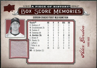 2008 Upper Deck UD A Piece of History Box Score Memories Jersey #BSM28 Alex Gordon