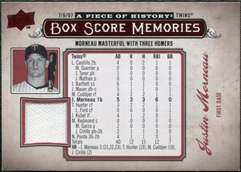 2008 Upper Deck UD A Piece of History Box Score Memories Jersey #BSM35 Justin Morneau