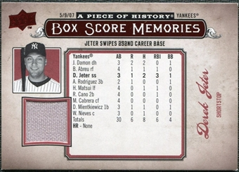 2008 Upper Deck UD A Piece of History Box Score Memories Jersey #BSM39 Derek Jeter