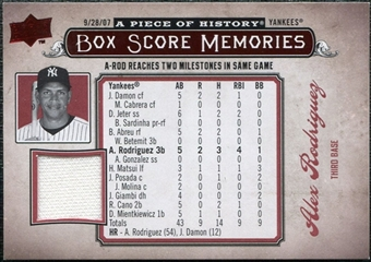 2008 Upper Deck UD A Piece of History Box Score Memories Jersey #BSM40 Alex Rodriguez