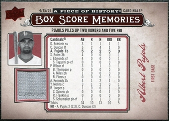 2008 Upper Deck UD A Piece of History Box Score Memories Jersey #BSM49 Albert Pujols