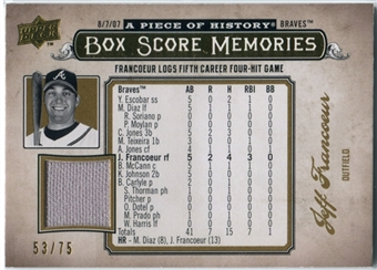 2008 Upper Deck UD A Piece of History Box Score Memories Jersey Gold #BSM5 Jeff Francoeur /75
