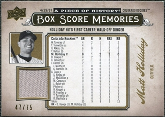 2008 Upper Deck UD A Piece of History Box Score Memories Jersey Gold #BSM18 Matt Holliday /75